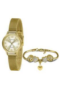 Kit De Relógio Feminino Lince Analógico + Pulseira - Lrmh148L Kz07S2Sx Dourado