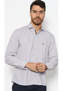 Camisa Slim Fit Com Bordado - Branca & Lilã¡Svip Reserva