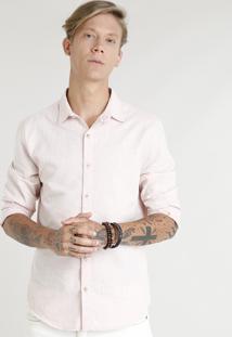 Camisa Masculina Com Linho Manga Longa Rosê