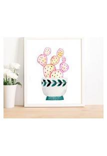 Quadro Decorativo Com Moldura Cacto Pink Branco - 20X25Cm