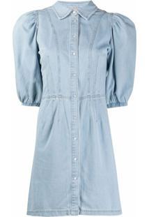 Twinset Vestido Jeans Com Mangas Curtas Bufantes - Azul