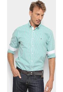 Camisa Manga Longa Tommy Hilfiger Masculina - Masculino-Verde+Branco