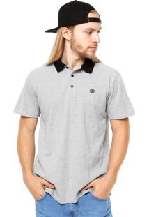 Camisa Polo Manga Curta Element Logo Cinza