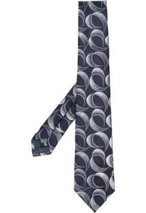Emporio Armani Gravata Com Estampa Geométrica - Azul