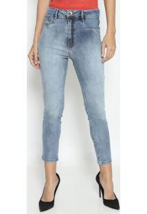 Jeans Super High Com Bolsos - Azul Claro- Lança Perflança Perfume
