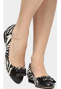 Sapatilha Couro Shoestock Pedras Feminina - Feminino-Preto+Branco