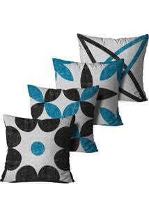 Kit 4 Capas Para Almofadas Decorativas Chumbo E Azul 45X45Cm - Multicolorido - Dafiti