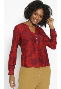 Blusa Com Seda - Bordã´ & Vermelhavip Reserva