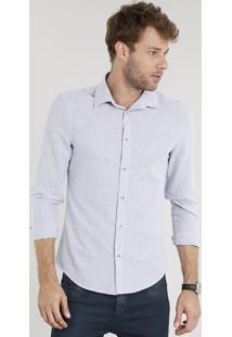 Camisa Masculina Slim Listrada Manga Longa Azul