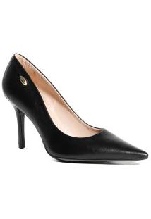 Sapato Feminino Scarpin Em Couro Luz Da Lua Bico Folha Preto