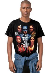 Camiseta Liga Da Justiça Dc Comics Poster Bandup! Masculina - Masculino
