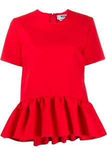 Msgm Blusa Peplum - Vermelho
