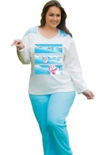 Pijama Feminino Victory Plus Size Inverno Frio Longo Canelado - Feminino-Azul Claro