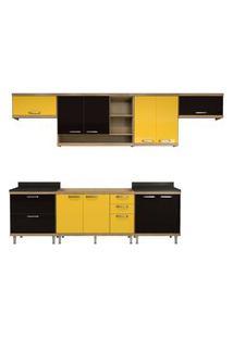 Cozinha Compacta Sicília 7 Peças Argila E Preto E Amarelo Multimóveis