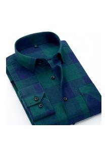 Camisa Xadrez Masculina Slim Fit Alabama - Verde E Azul