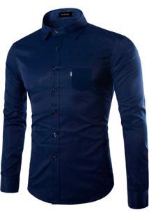 Camisa Social Amil - Azul-G