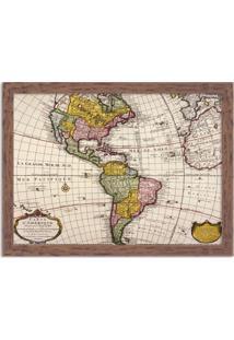 Quadro Decorativo Mapa Mundi America Do Norte E America Do Sul Madeira - Médio
