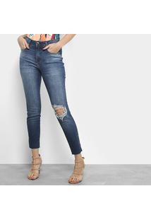 e4a3cf44a Calça Jeans Skinny Lança Perfume Rasgos Barra Desfiada Cintura Média  Feminina - Feminino-Azul