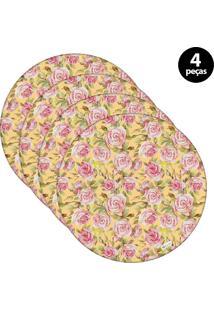 Sousplat Mdecore Floral 32X32Cm Amarelo 4Pçs