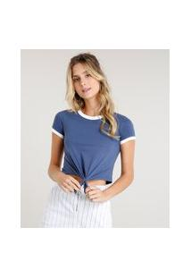 Blusa Feminina Básica Cropped Com Nó Manga Curta Gola Contrastante Azul
