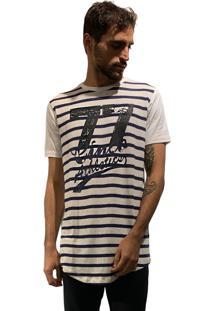 Camiseta 775 Listrada Alongada Off - Marinho