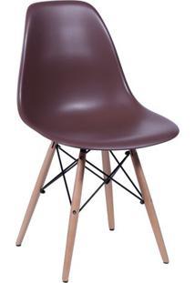 Jogo De Cadeiras Eames Dkr- Café & Madeira- 4Pçsor Design