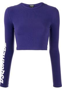 Dsquared2 Blusa Cropped Com Estampa De Logo - Azul