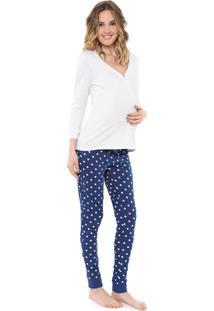 Pijama Malwee Liberta Poá Branco/Azul