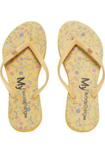 Chinelo Floral Com Tag Da Marca - Amarelo & Rosa -Mymy Favorite Things