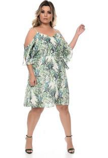94b62bac9 Chic e Elegante. Vestido Folhagem Plus Size