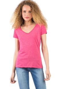 Blusa Gola V Básica Mescla Rosa Escuro