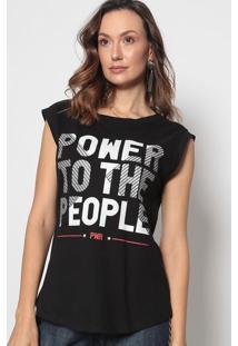 "Blusa ""Power To The People"" - Preta & Branca - Morenmorena Rosa"