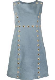 Alberta Ferretti Eyelet Embellished Suede Dress - Azul