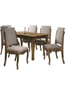 Mesa De Jantar 160Cm Com 6 Cadeiras Ônix Amadeirado/Pena Caramelo - Rv