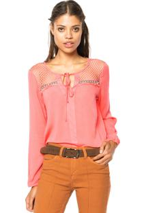 Blusa Top Orange Crochê Rosa