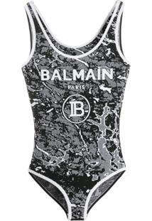 Balmain Body Jacquard Com Logo - Preto