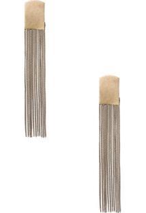 Brinco Metal Longo Franjas Shoulder - Dourado