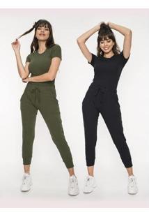 Kit 2 Blusas Salvatore Fashion Básicas Comfy Malha Canelada Feminino - Feminino-Verde+Preto