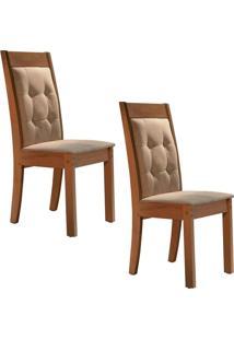 Conjunto Com 2 Cadeiras Rubi Chocolate E Pena