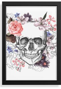 Quadro Love Decor Decorativo Com Moldura Caveira Floral
