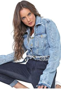 Jaqueta Jeans Lança Perfume Destroyed Azul