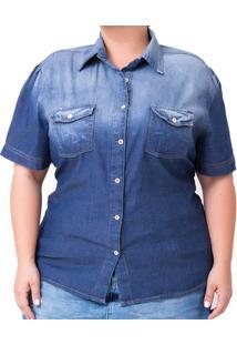 Camisa Confidencial Extra Plus Size Jeans Feminina - Feminino-Azul