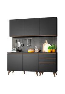 Cozinha Compacta Madesa Reims Com Balcáo - 5 Portas 3 Gavetas Preto