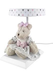 Abajur Toys Claro Ursa Rosa Moderno Quarto Bebê Infantil Menina