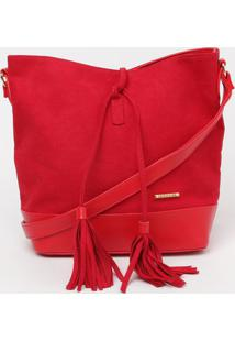 Bolsa Com Barbicacho - Vermelha - 25X24X12Cm - Ggatabakana