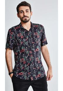 Camisa Estampada Caveira Flores
