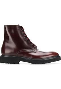 Paul Smith Ankle Boot Com Cadarço - Vermelho