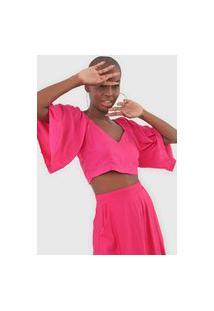 Blusa Cropped Mercatto Lastex Pink