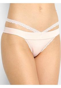 Calcinha Tanga Trifil Lace Básica - Feminino-Nude