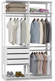 Closet Com 3 Gavetas E 3 Cabideiros Branco Lilies Mã³Veis - Branco/Multicolorido - Dafiti